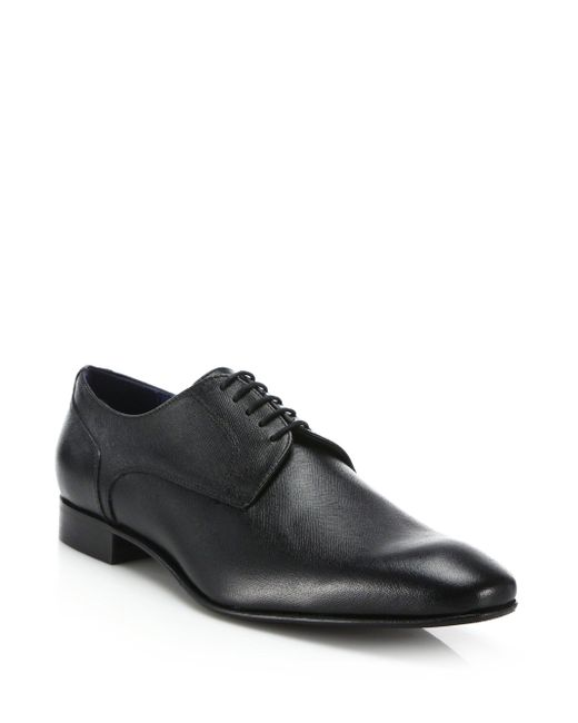 Saks Fifth Avenue - Black Saffiano Lace-up Brogues for Men - Lyst