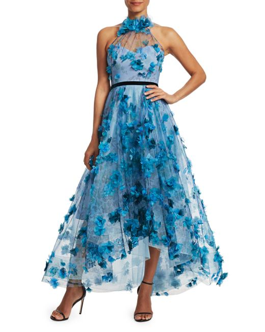 ae629655 ... Marchesa notte - Blue Floral-embroidered High-low Halter Gown - Lyst ...