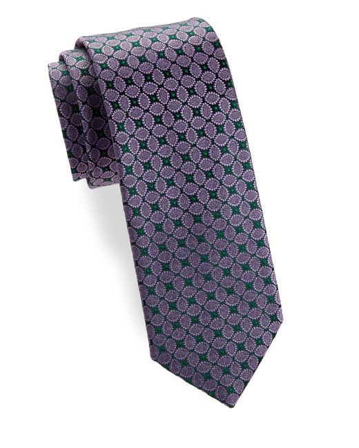 Charvet - Blue Leaf Silk Narrow Tie for Men - Lyst