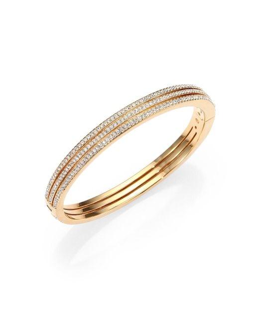 Adriana Orsini - Metallic Pavé Crystal Three-row Bangle Bracelet/goldtone - Lyst