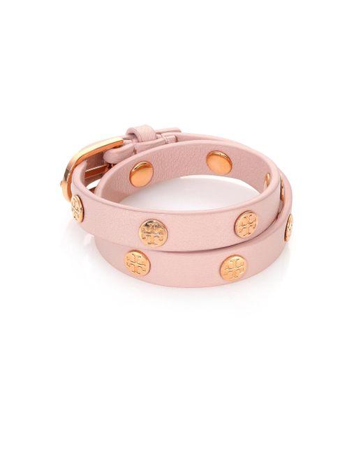 Tory Burch | Metallic Double Wrap Logo Stud Bracelet | Lyst