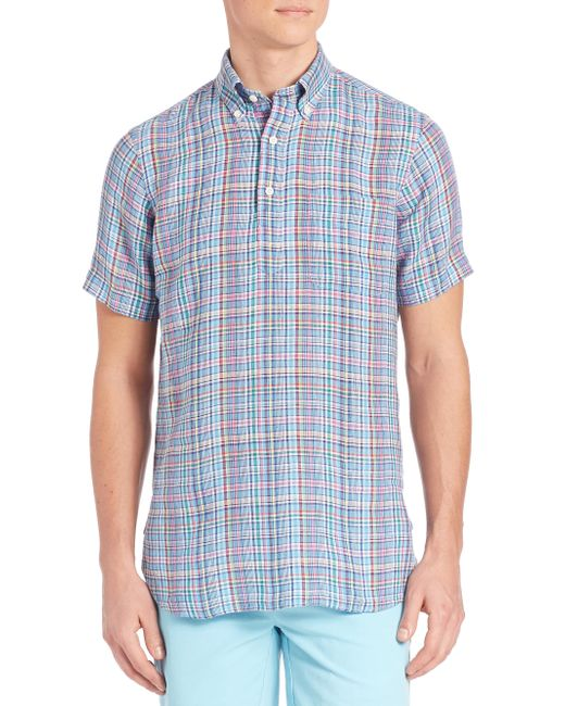 Polo Ralph Lauren   Blue Plaid Half-placket Button-down Shirt for Men   Lyst