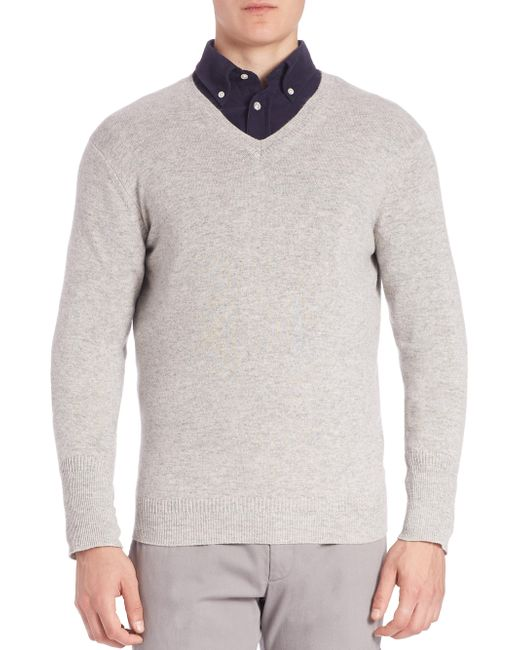 Façonnable - Gray Cashmere Knit Pullover for Men - Lyst