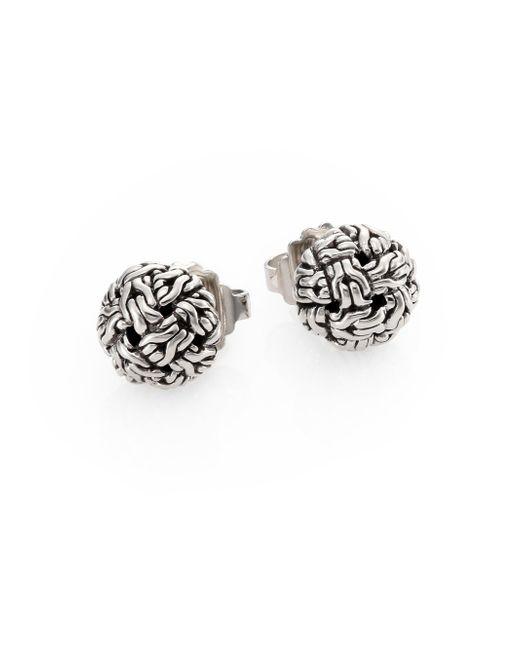 John Hardy - Metallic Classic Chain Sterling Silver Knot Stud Earrings - Lyst