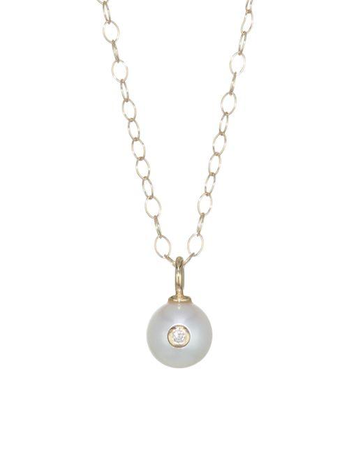 Mizuki - Metallic 14k Gold, Pearl & Diamond Pendant Necklace - Lyst