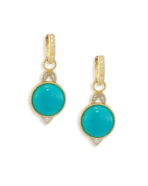 Jude Frances - Multicolor Lisse Diamond, Turquoise & 18k Yellow Gold Round Earring Charms - Lyst