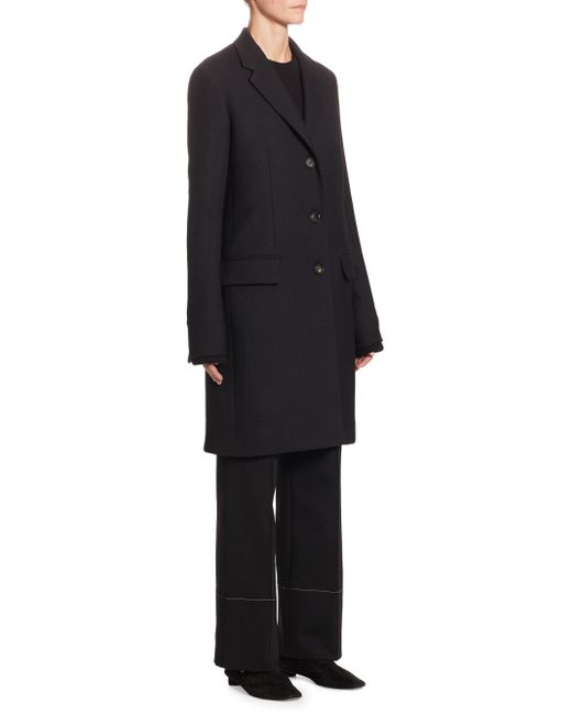 The Row - Black Amutto Wool Coat - Lyst