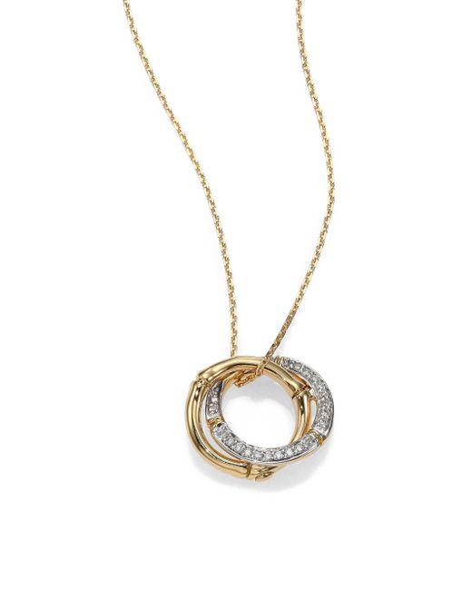 John Hardy - Metallic Bamboo Small Diamond & 18k Yellow Gold Interlinking Ring Pendant Necklace - Lyst