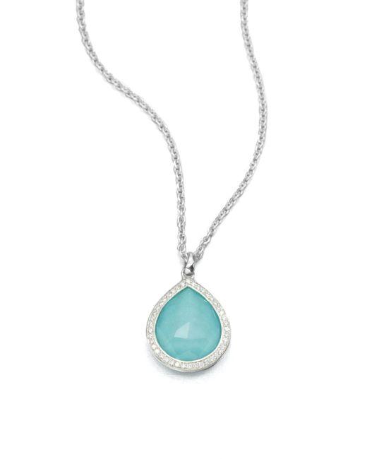 Ippolita - Metallic Turquoise Doublet & Diamond Pendant Necklace - Lyst