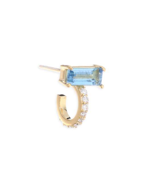 Paige Novick - Multicolor Powerful Pretty Things Diamond & Aquamarine Single Huggie Earring - Lyst