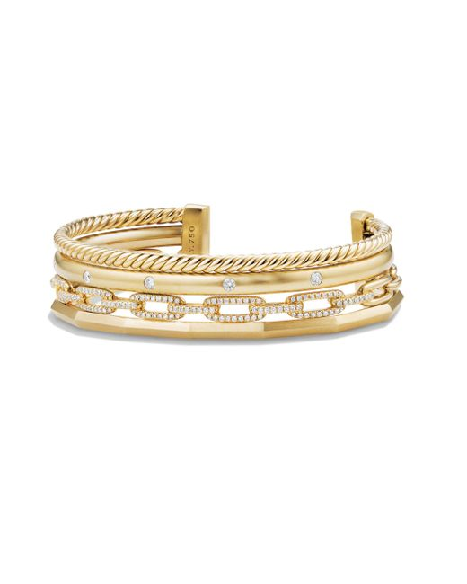 David Yurman - Metallic Stax Medium Cuff Bracelet With Diamonds In 18k Gold - Lyst