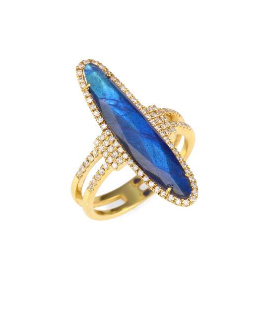 Meira T - Metallic Diamonds, Blue Labradorite & 14k Yellow Gold Ring - Lyst