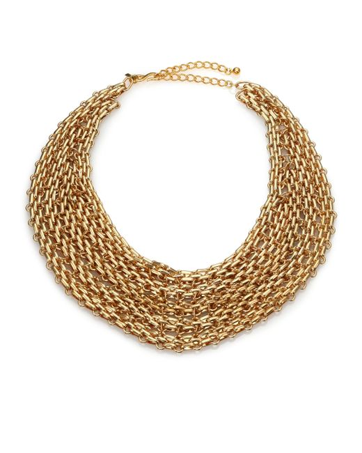 Kenneth Jay Lane | Metallic Multi-row Link Bib Necklace | Lyst
