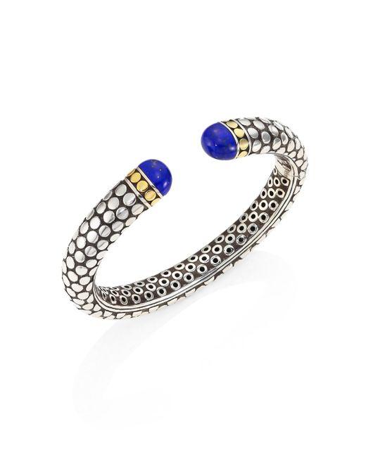 John Hardy   Multicolor Batu Dot Lapis Lazuli, 18k Yellow Gold & Sterling Silver Medium Kick Cuff Bracelet   Lyst