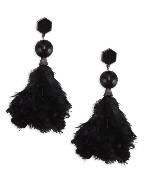 Tory Burch | Black Feather Drop Earrings | Lyst