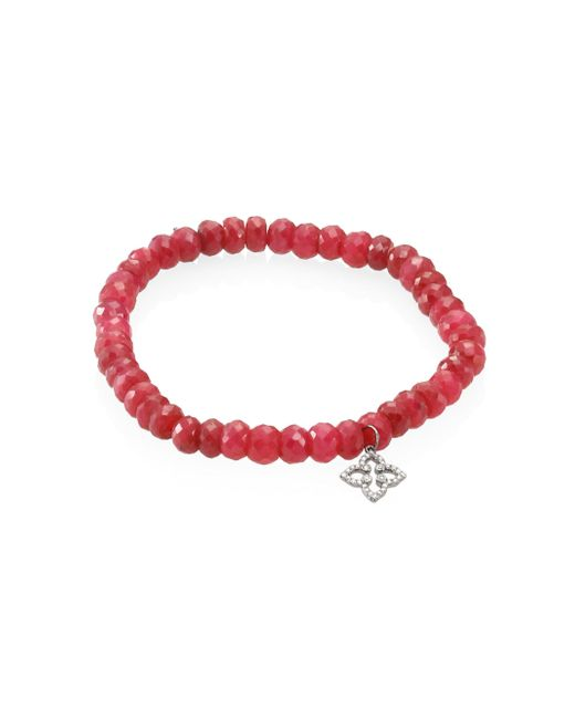 Sydney Evan | Red Mini Morrocan Flower Diamond & Ruby Beaded Bracelet | Lyst