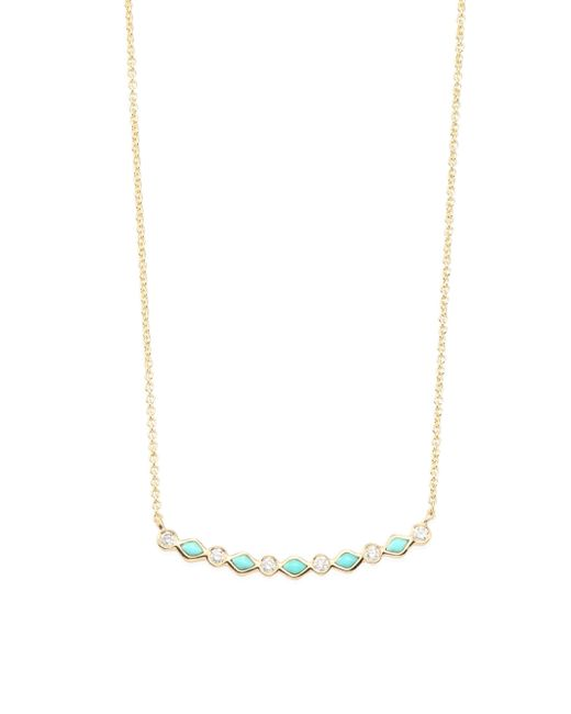 Sydney Evan - Metallic Turquoise & Diamond Bar Necklace - Lyst