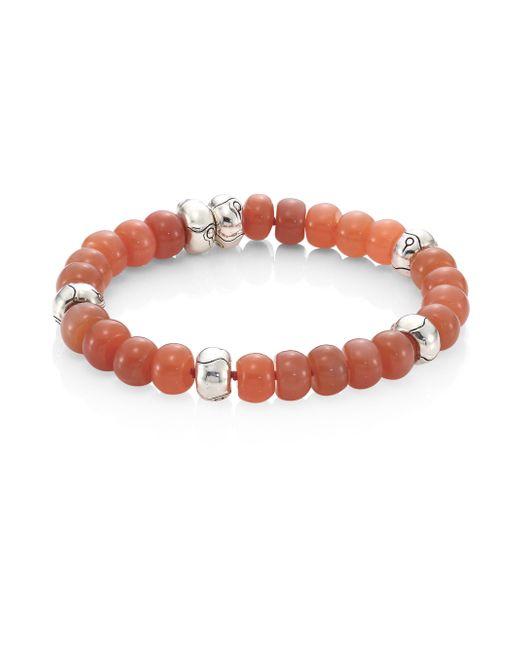 John Hardy | Multicolor Bamboo Peach Moonstone & Sterling Silver Bead Bracelet | Lyst