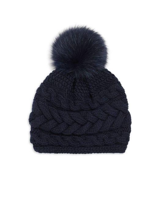 Inverni - Blue Cashmere Cable-knit Beanie W/ Fur Pompom - Lyst