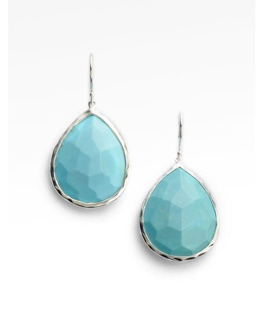 Ippolita   Metallic Rock Candy Turquoise & Sterling Silver Large Teardrop Earrings   Lyst