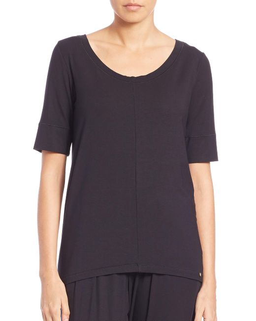 Hanro - Black Yoga Short Sleeve Top - Lyst