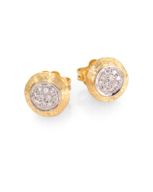 Marco Bicego - Metallic Delicati Diamond, 18k Yellow & White Gold Stud Earrings - Lyst