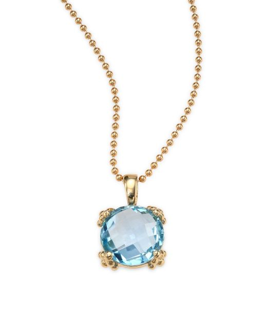 Anzie   Dew Drop Sky Blue Topaz & 14k Yellow Gold Pendant Necklace   Lyst