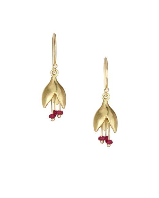 Annette Ferdinandsen - Metallic Ruby & 14k Yellow Gold Flower Bud Drop Earrings - Lyst