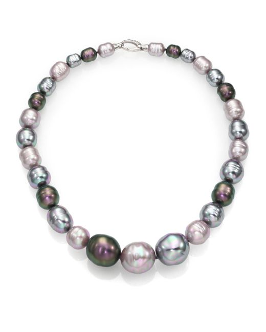 Majorica - 10mm-20mm Multicolor Baroque Pearl & Sterling Silver Graduated Strand Necklace/18 - Lyst