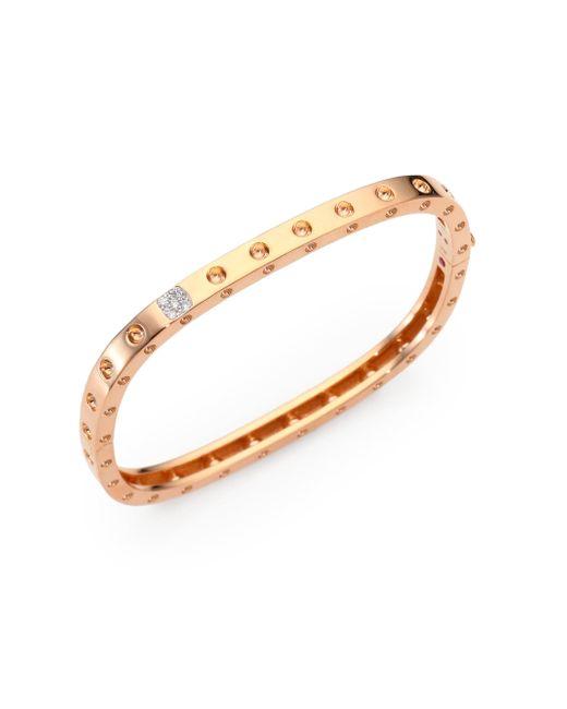 Roberto Coin - Pink Pois Moi Diamond & 18k Rose Gold Single-row Bangle Bracelet - Lyst