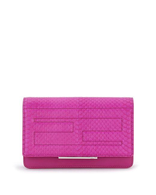 Fendi | Purple Tube Elaphe & Leather Chain Wallet | Lyst