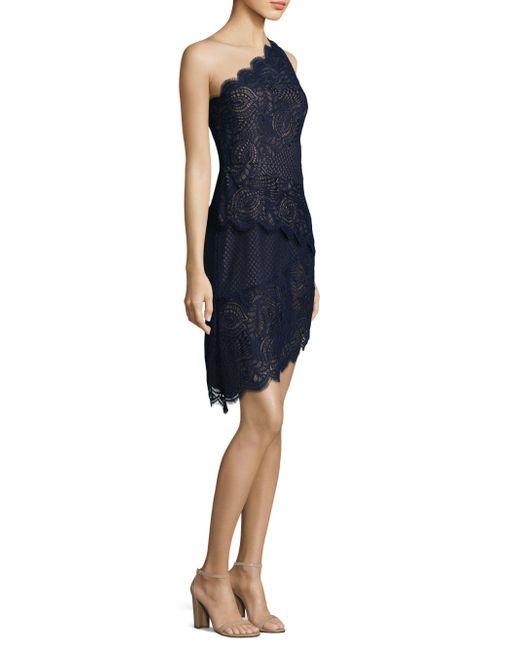 BCBGMAXAZRIA | Blue Lace Tiered One-shoulder Dress | Lyst