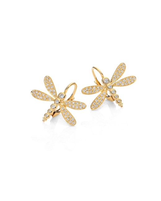 Temple St. Clair | Metallic Dragonfly Pave Diamond & 18k Yellow Gold Earrings | Lyst
