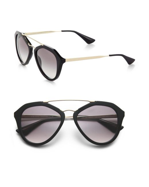 Prada - Black 54mm Mirrored Aviator Sunglasses - Lyst