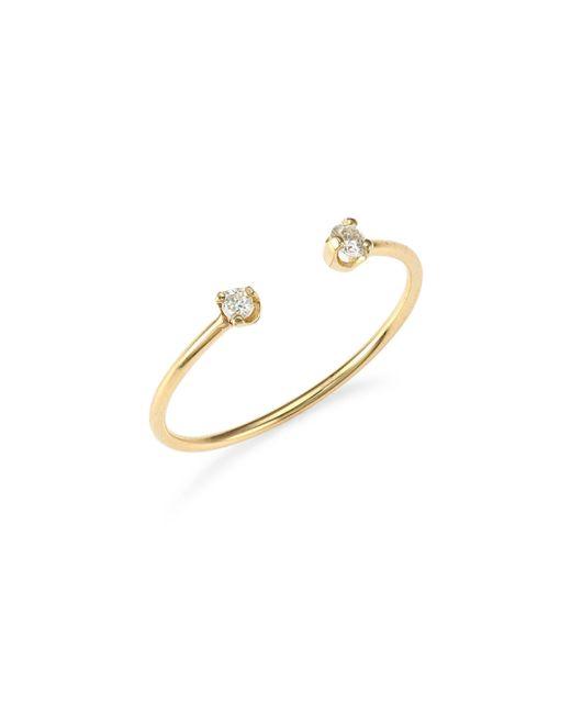 Zoe Chicco - Metallic 14k Yellow Gold Open Diamond Ring - Lyst