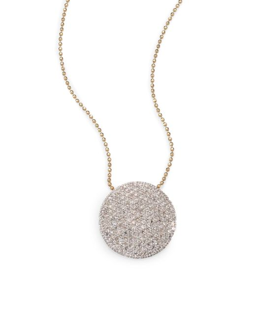 Phillips House - Metallic Pave Diamond & 14k Yellow Gold Infinity Disc Pendant Necklace - Lyst