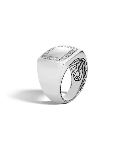 John Hardy | Metallic Classic Silver & Diamond Square Ring | Lyst