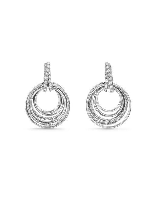 David Yurman | Metallic Crossover Drop Earrings With Diamonds | Lyst