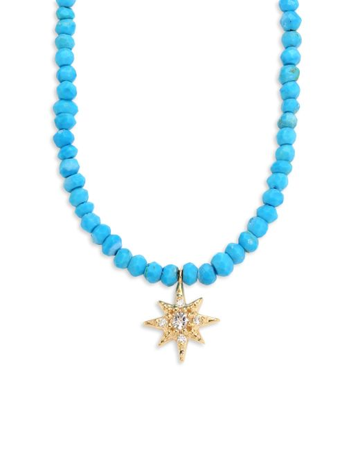 Anzie   Blue Aztec Starburst Diamond, Topaz & Turquoise Beaded Necklace   Lyst
