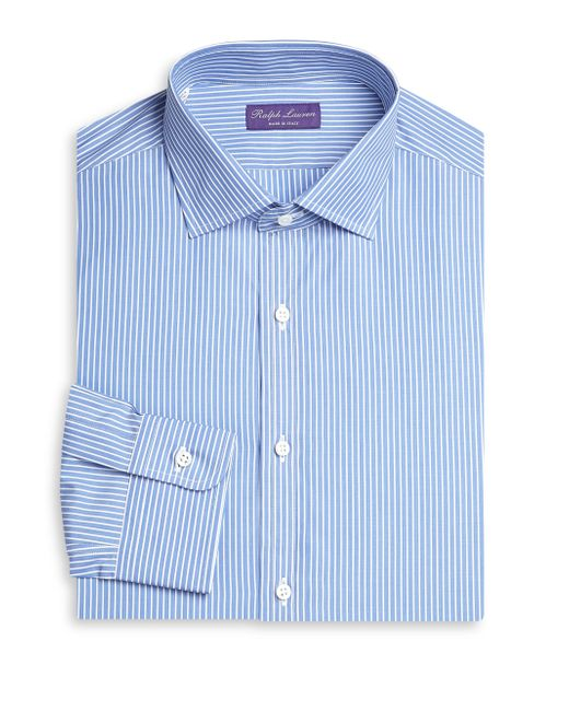 Ralph Lauren Purple Label - Blue Slim-fit Bond Barrel Stripe Dress Shirt for Men - Lyst