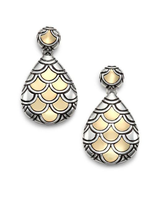 John Hardy   Metallic Naga 18k Yellow Gold & Sterling Silver Teardrop Earrings   Lyst