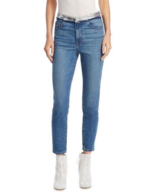 IRO - Blue Jones Sequin Skinny Jeans - Lyst