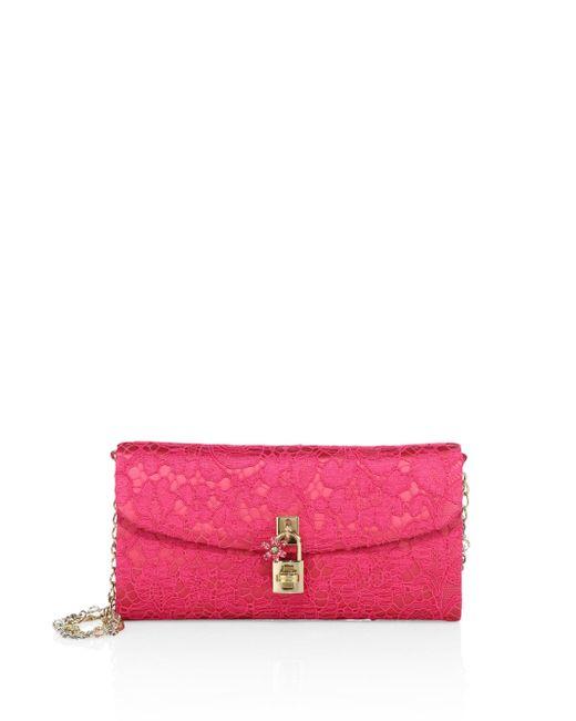 Dolce & Gabbana - Pink Lace Pouchette Chain Clutch - Lyst