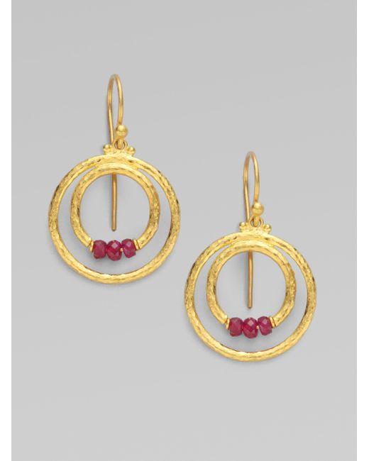 Gurhan - Metallic 24k Gold & Ruby Double Hoop Earrings - Lyst