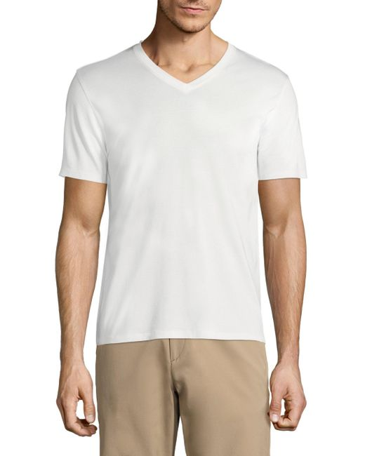 Theory - White Claey Plaito V-neck Tee for Men - Lyst