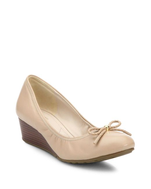Cole Haan - Natural Tali Grand Leather Wedge Pumps - Lyst