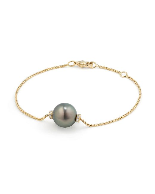 David Yurman - Gray Solari Single Station Bracelet In 18k Gold With Diamonds And Tahitian Pearl - Lyst