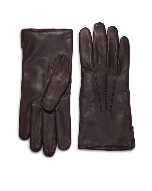 Saks Fifth Avenue - Brown Leather Gloves for Men - Lyst