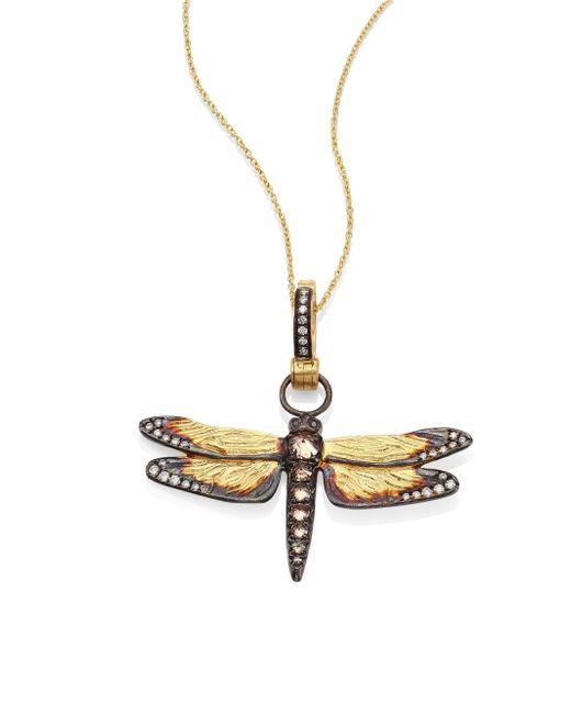 Annoushka | Metallic Dragonfly Diamond & 18k Yellow Gold Amulet | Lyst