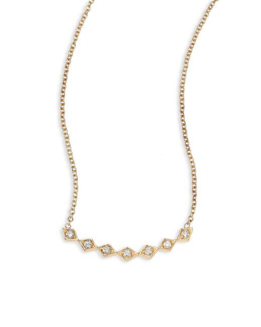 "Zoe Chicco - Metallic Zoe Chicco 14k Yellow Gold Half Pavé Diamond Shape Necklace, 16"" - Lyst"